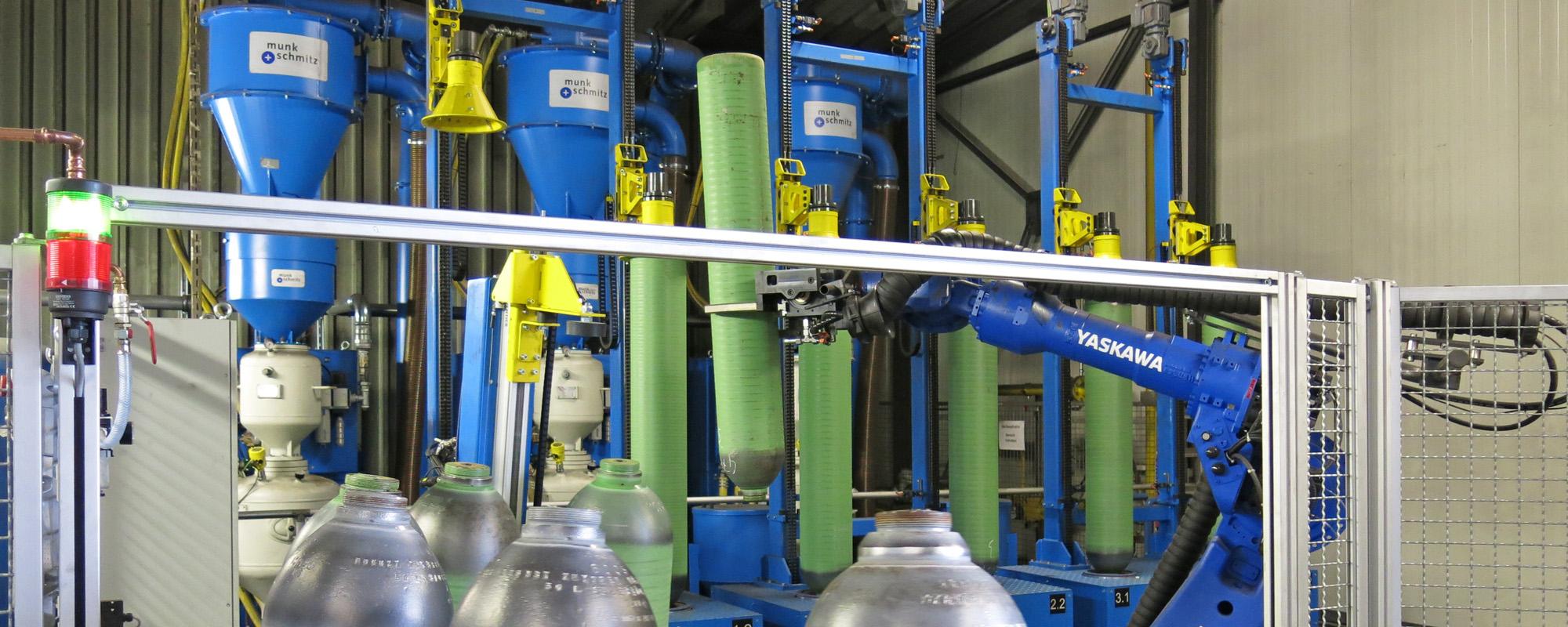 Atemluftflaschen strahlen, Druckgasflaschen strahlen